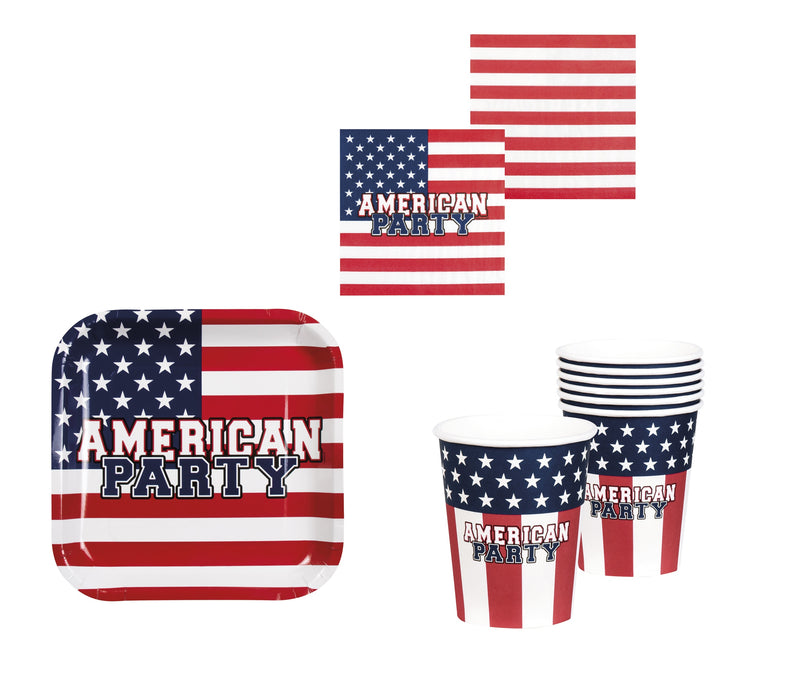 Boland USA American Party Tableware 4 th July Party Plates Cups Napkins Set