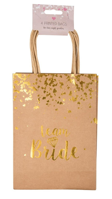 Hen Party Printed Team Bride Brown & Gold Gift Goody Paper Swag Bags 4 Pack