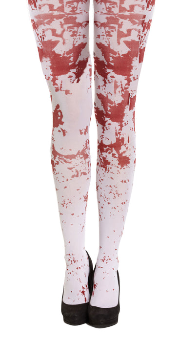 White Blood Splattered Skelton/ Zombie Tights Halloween Fancy Dress Accessory