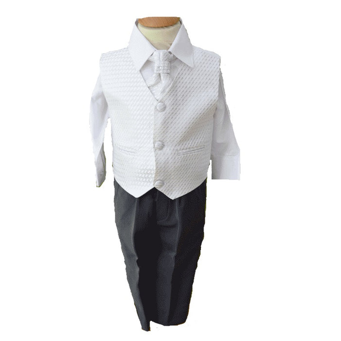 Vivaki 4 Piece White & Silver Christening, Wedding & Special Occasion Suit-5 Years