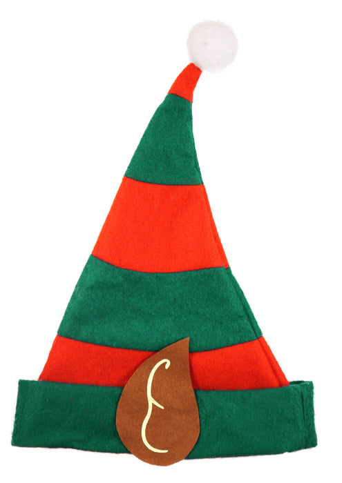 Adult Festive Elf Christmas Red & Green Hat With Ears & Bobble