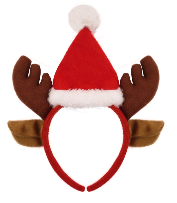 Adults Festive Reindeer With Santa Hat Christmas Headband Party Accessory