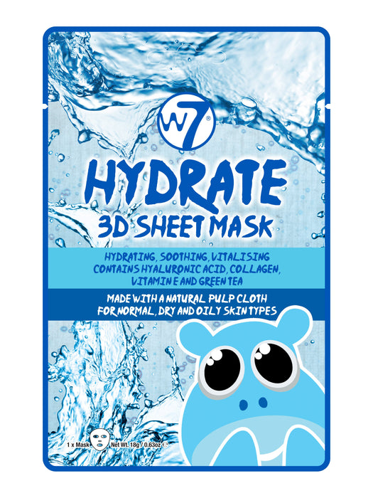 W7 Hydrate 3D Sheet Mask Face Mask Skin Care Hydrating Moisturising X1