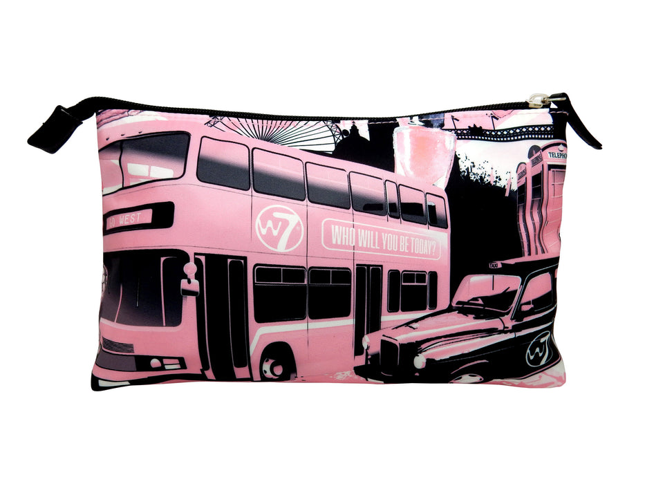 W7 London Scene Print Large Plush Cosmetic & Make Up Bag
