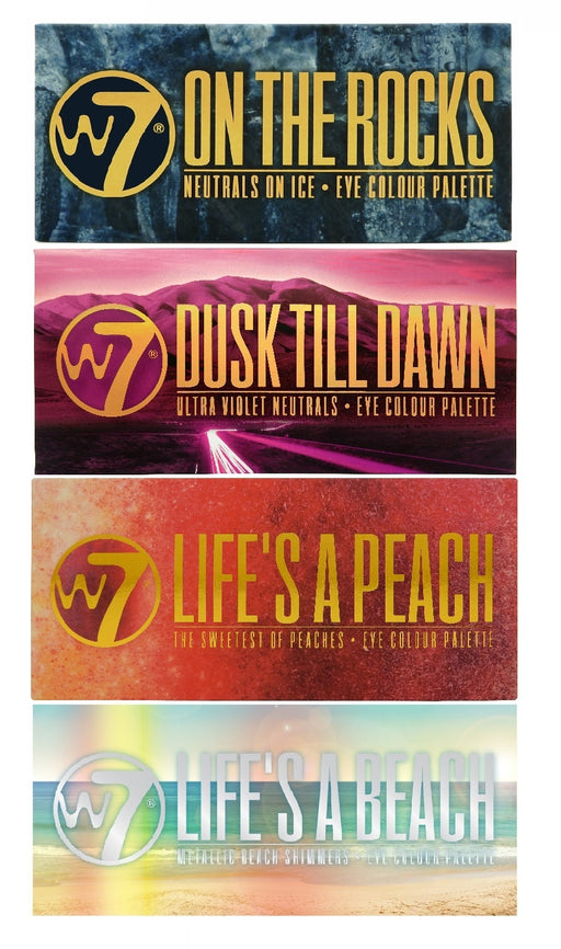 W7 Ultimate Eyeshadow Collection On The Rocks, Life's A Peach, Life's a Beach & Dusk Till Dawn