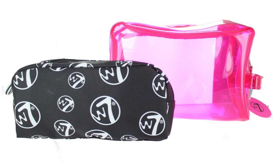W7 2 Piece Large PVC & Medium Cosmetic Toiletry Make Up Bag Set