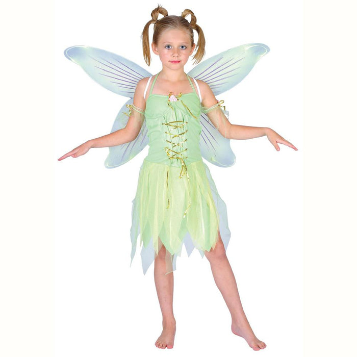 Neverland Fairy Girls Children's Fancy Dress Costume With Dress, Wings & Sleeves