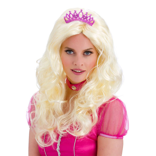 Wicked Darling Princess Aurora Blonde Wig with Tiara Fancy Dress Accessory