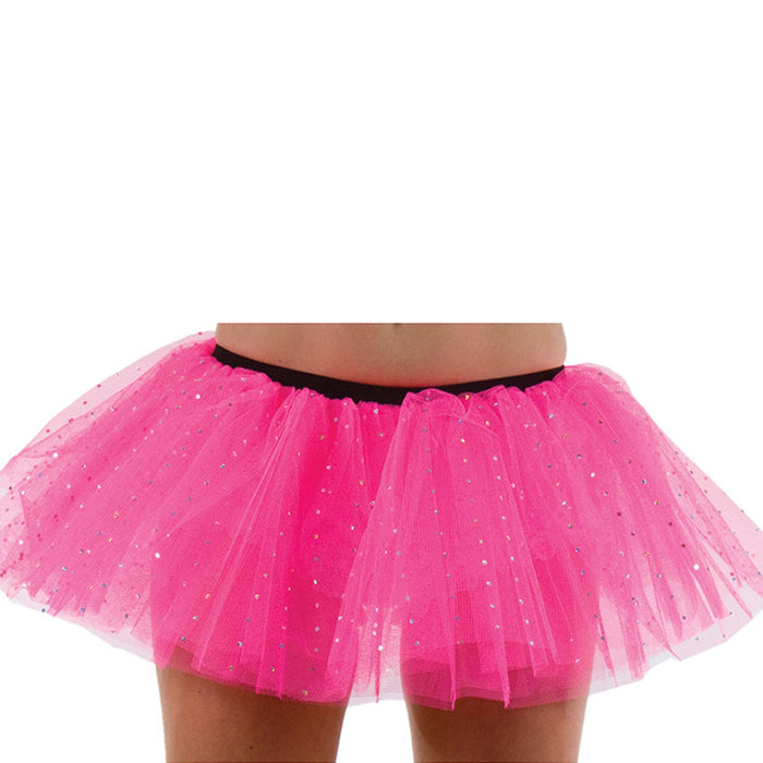 Wicked Ladies 3 Layer Tutu With Silver Sequins Fancy Dress Accessory-Hot Pink