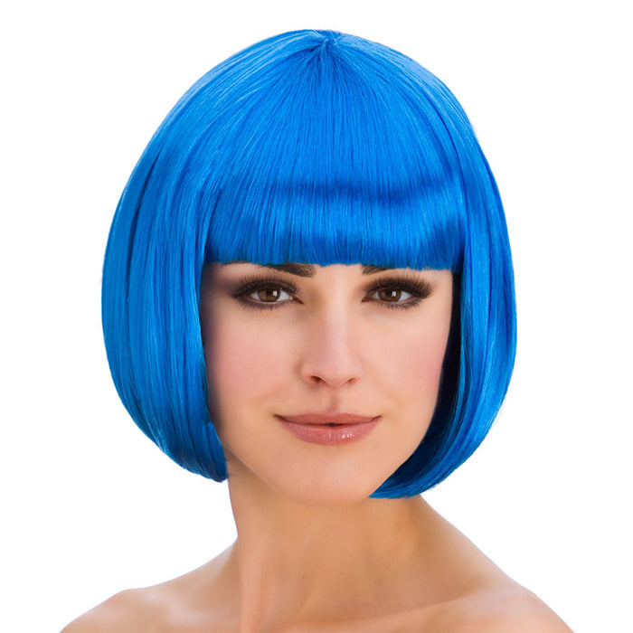 Wicked Ladies Diva Short Bob with Fringe Hair Wig-Blue