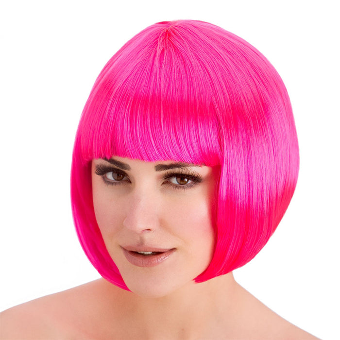 Wicked Ladies Diva Short Bob with Fringe Hair Wig-Neon Pink