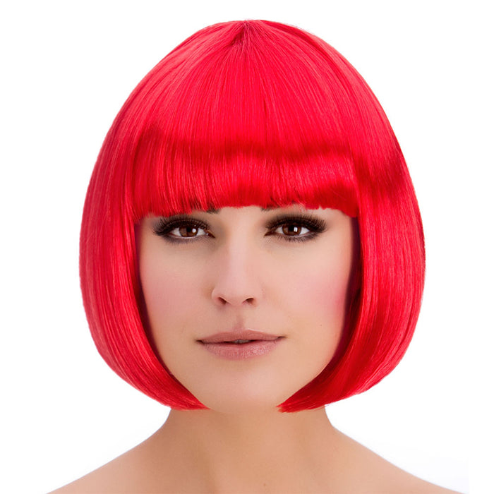 Wicked Ladies Diva Short Bob with Fringe Hair Wig-Red
