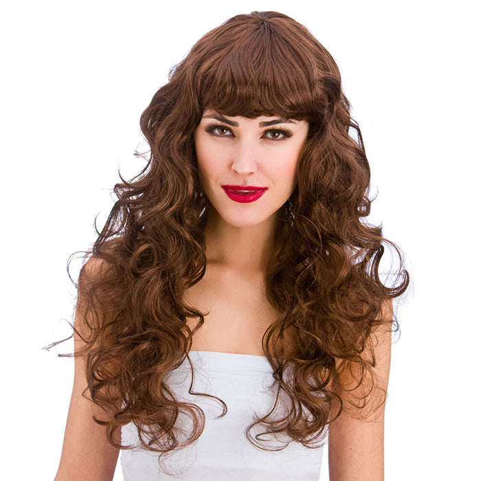 Wicked Ladies Foxy Curly Long Wig with Fringe-Brown