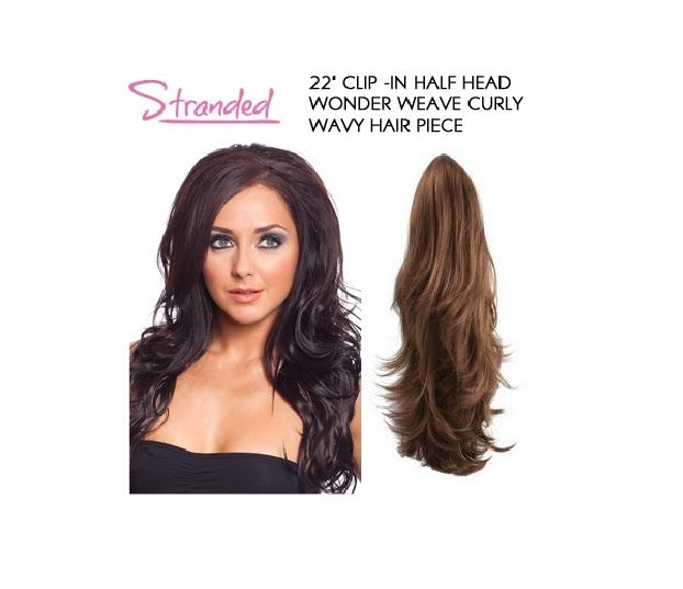 "22"" Clip -In Half Head Wonder Weave Curly Wavy Hair Piece"