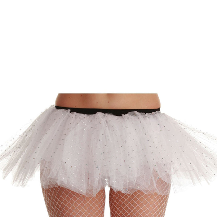 Wicked Ladies 3 Layer Tutu With Silver Sequins Fancy Dress Accessory-White