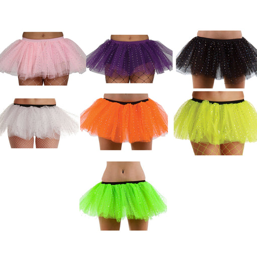 Wicked Ladies 3 Layer Tutu With Silver Sequins Fancy Dress Accessory