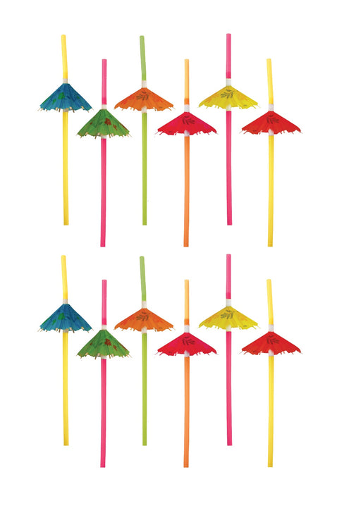Party Time Pack of 12 Umberella Straws Cocktai Party Accessory