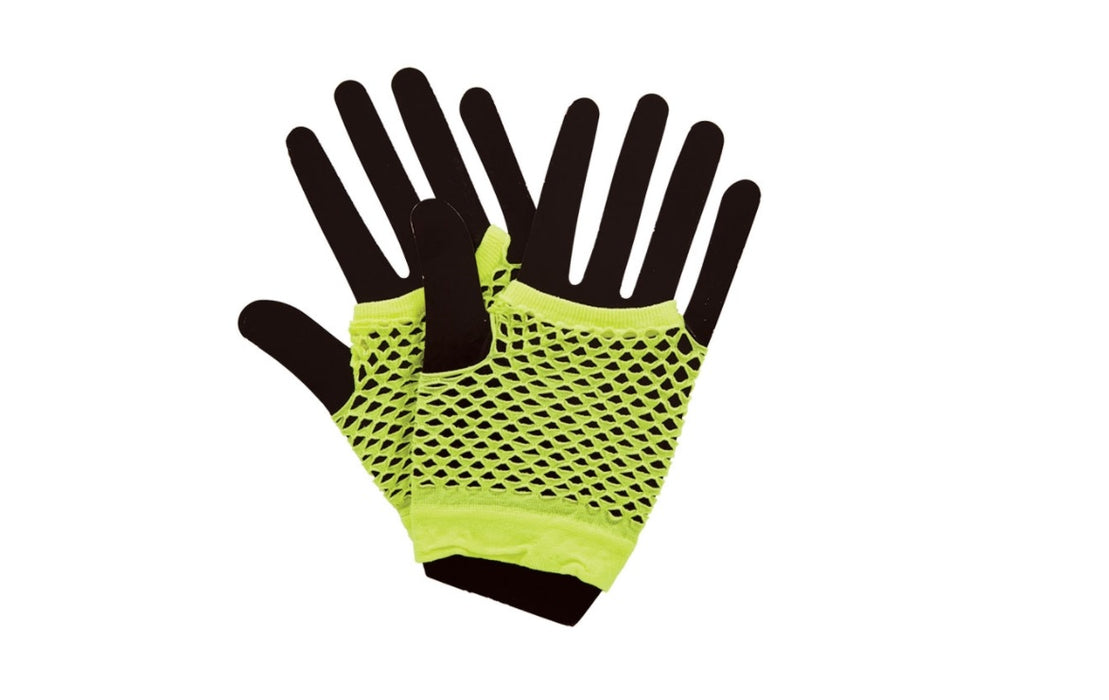 80's Dance Neon Yellow Short Fishnet Gloves Fancy Dress Accessory