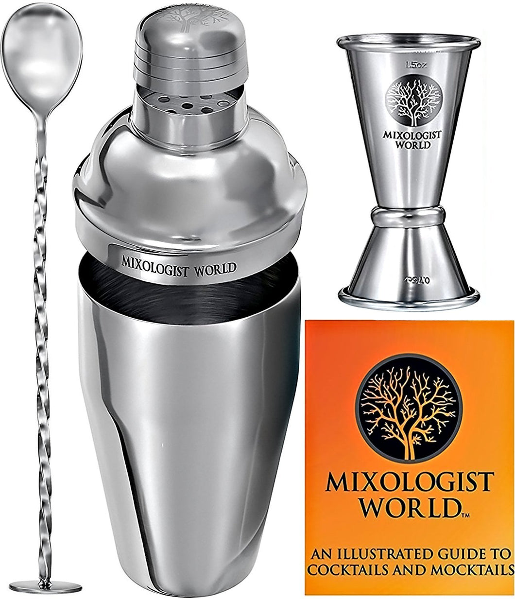 Professional Cocktail Shaker Bar Set by MIXOLOGIST WORLD - Bartender Tools Accessories - 24oz Martini Kit Built-in Strainer with Double Jigger and Mixing Spoon 18 Drink Recipes Home Party Guide Book