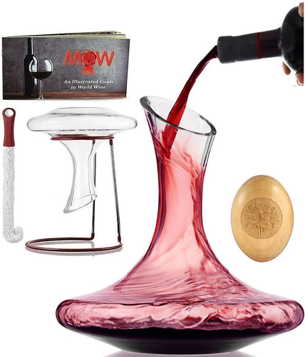 Wine Decanter Glass Carafe Set - Exquisite 100% Hand Blown Lead-Free Aerator Kit with Cleaning Brush & Drying Stand in Deluxe Box| Durable Crystal Glass Perfect for Aerating / Decanting