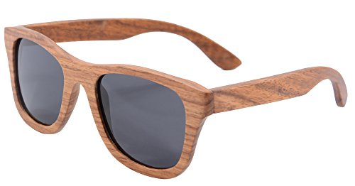 SHINU Genuine Handmade Wood Sunglasses Anti-glare Polarized Bamboo Layer UV400 Glasses-Z6016(pear,grey)