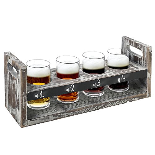 MyGift Rustic Torched Wood 5 pc Craft Beer Flight Tasting Serving Set with 4 Glasses & Chalkboard Panel