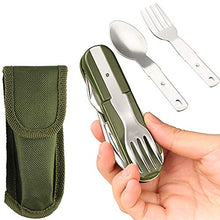 Stainless Steel Kitchen Utensil Set 7-in-1 Folding Tableware (Fork/Knife/Spoon/Bottle Opener) for Camping Backpack Picnic Cutlery Set Camp Knife Metal Working Tools and Equipment Utensil Tool Kit