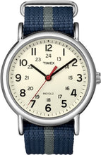 Timex Unisex T2N654 Weekender 38mm Blue/Gray Stripe Nylon Slip-Thru Strap Watch