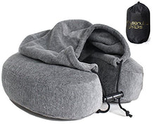Luxury Quality Memory Foam Neck Travel Pillow with Hoodie. Stylish Carry Bag. Premium Velvet. Washable Zippered Cover. Scientifically Proven U Shaped Neck Pillow. Business Traveler Gifts. (Gray)