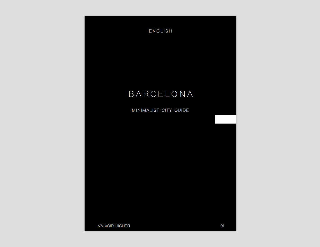 This city guide contains a hundred pages of the most contemporary, minimalist and design places in Barcelona. https://va-voir-higher.myshopify.com/products/barcelona-printed