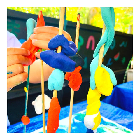 Kid art project with modeling clay