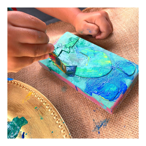 Stamp making and prints for kids