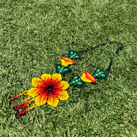 Lilli Pattern Green Leaf Long Necklace Handmade Embera