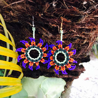 Boho Native Style Beaded Ojo De Dios Earrings