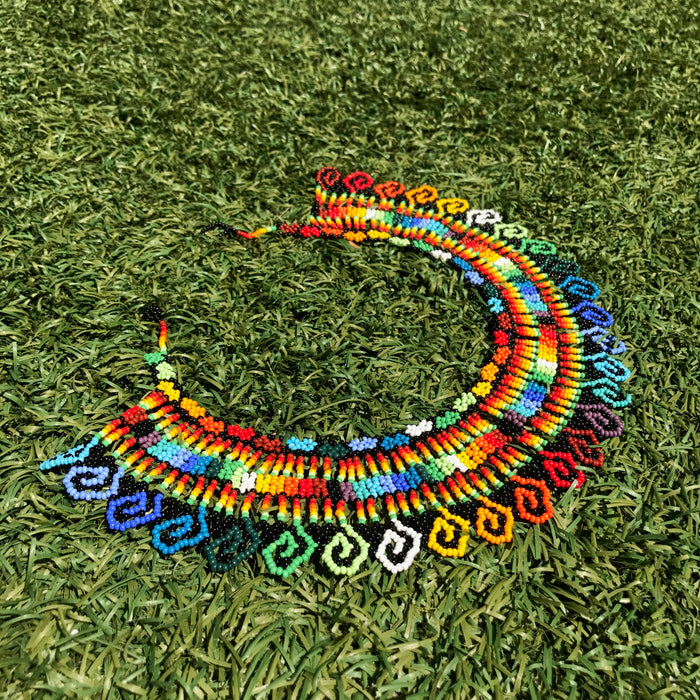 Tropical Choker Embera Handmade Necklace Rainbow Color Geometric Patterns