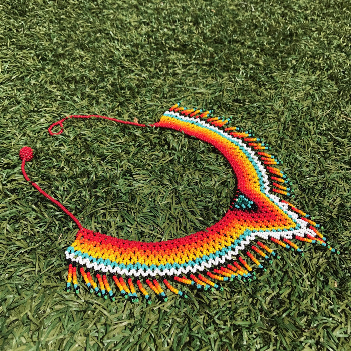 V Shape Choker Necklace Handmade Embera Fire Red Center Pattern