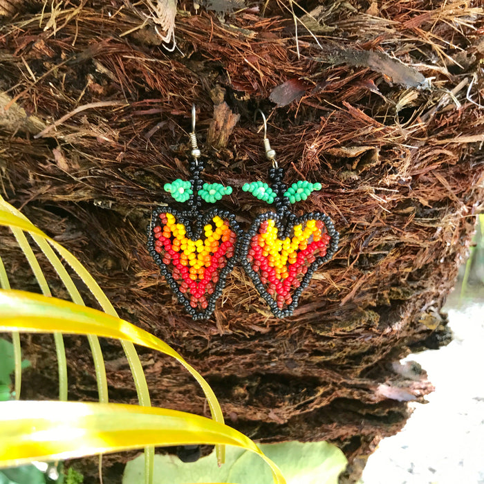 Native Beaded Earrings with Fire Red Strawberry