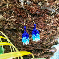 Native Beaded Earrings with Earthy Fringed Layers Blue Sky Style