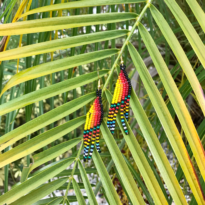 Native Beaded Earrings with Earthy Feather Multicolor Stripes