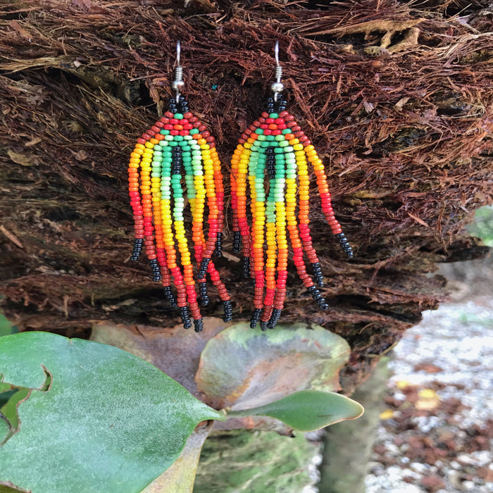 Native Beaded Earrings with Earthy Feather Style Green Center