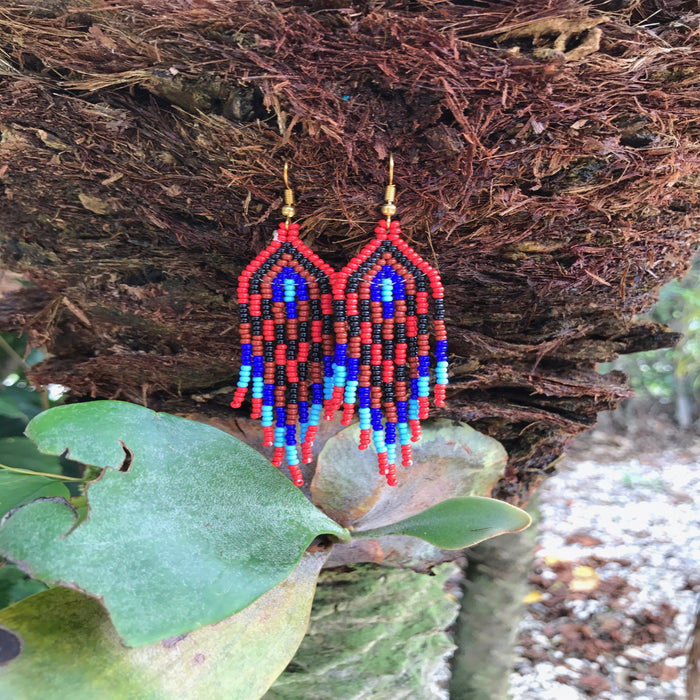Native Beaded Earrings with Earthy Feather Volcano Red Style