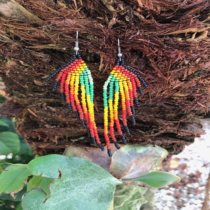 Native Beaded Earrings with Earthy Feather Black Border Style