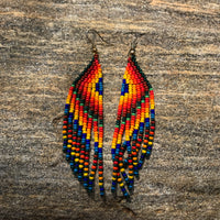 Native American Earrings with Dangles Blue Tips Feathery Style