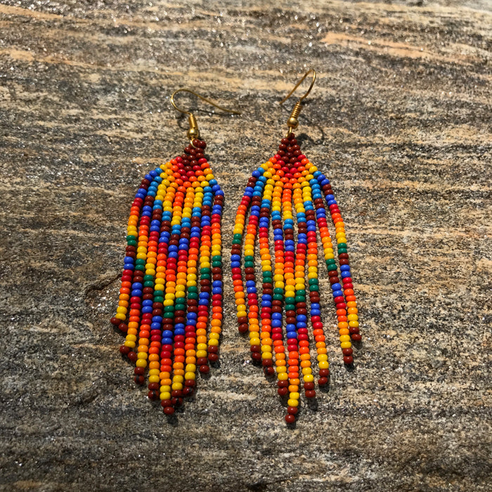 Native Beaded Earrings with Earthy Feather Flow