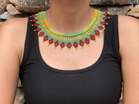 Choker Embera Handmade Necklace Combined Red And Blue Patterns