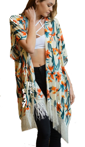 Ivory Tropical Flower Kimono with Vintage Spocket App