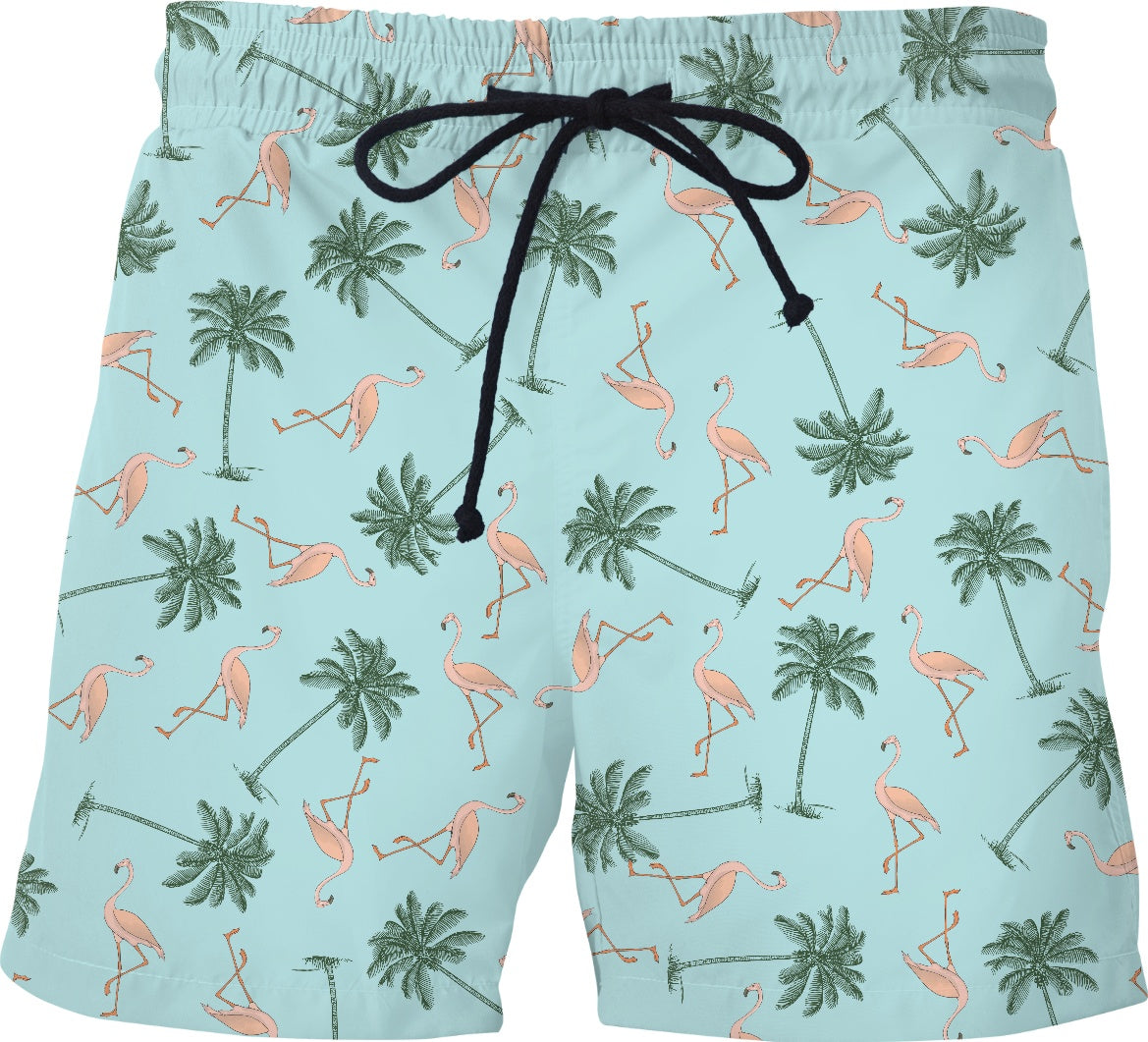 Flamingos and Palm Trees Swim Shorts - Adult Swim Time