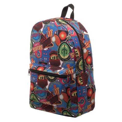 Ready Player One OASIS Patches Backpack, Polyester Sublimated Knapsack with Pocket, Gamer Tech Ready - Adult Swim Time