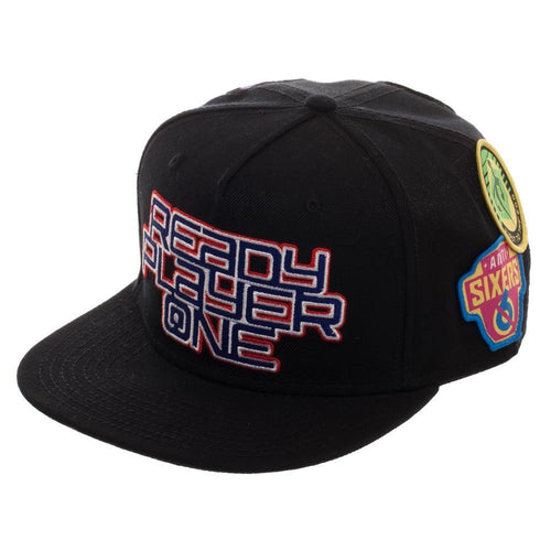 Ready Player One Logo Flat Bill Cap, Patch Black Snapback with Gamer Patches, Video Game Movie Action - Adult Swim Time