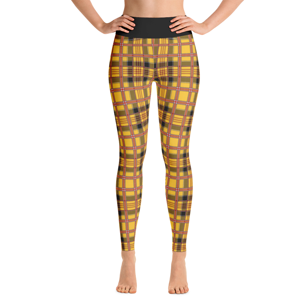 Yellow Plaid Yoga Leggings - Adult Swim Time